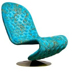 1970s Verner Panton 'System 123' Lounge Chair in Turquoise Burnout Velvet