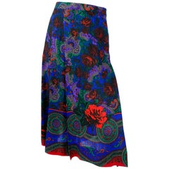 1970s Vibrant Floral Printed Wool Skirt
