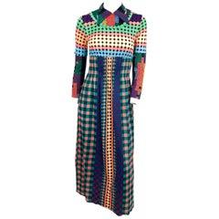 1970s Vibrant Geometric Printed Dress
