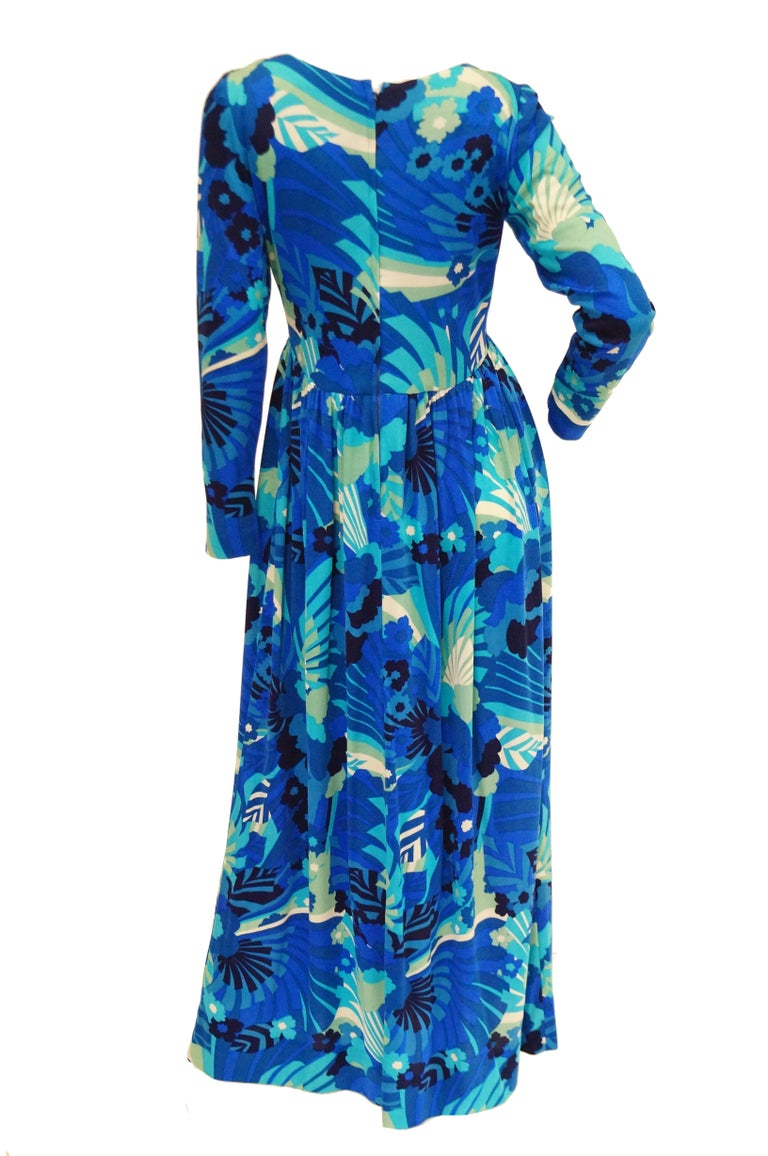 1970s Victor Costa Funky Blue Floral Knit Maxi Dress For Sale 1