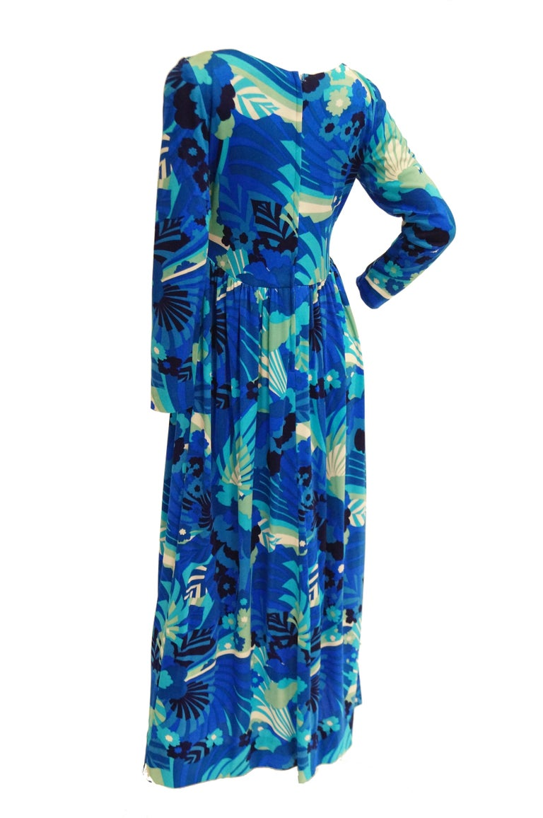 1970s Victor Costa Funky Blue Floral Knit Maxi Dress For Sale 3