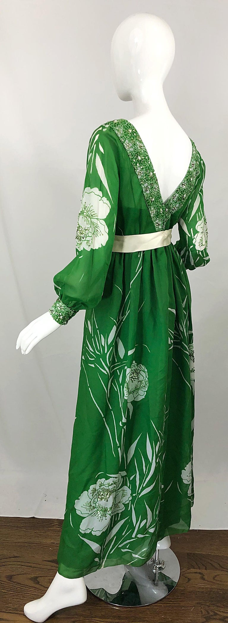 1970s Victoria Royal Kelly Green + White Abstract Floral Sequined Chiffon Gown For Sale 6