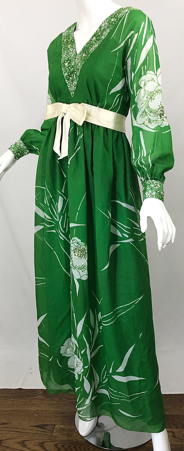 1970s Victoria Royal Kelly Green + White Abstract Floral Sequined Chiffon Gown For Sale 7