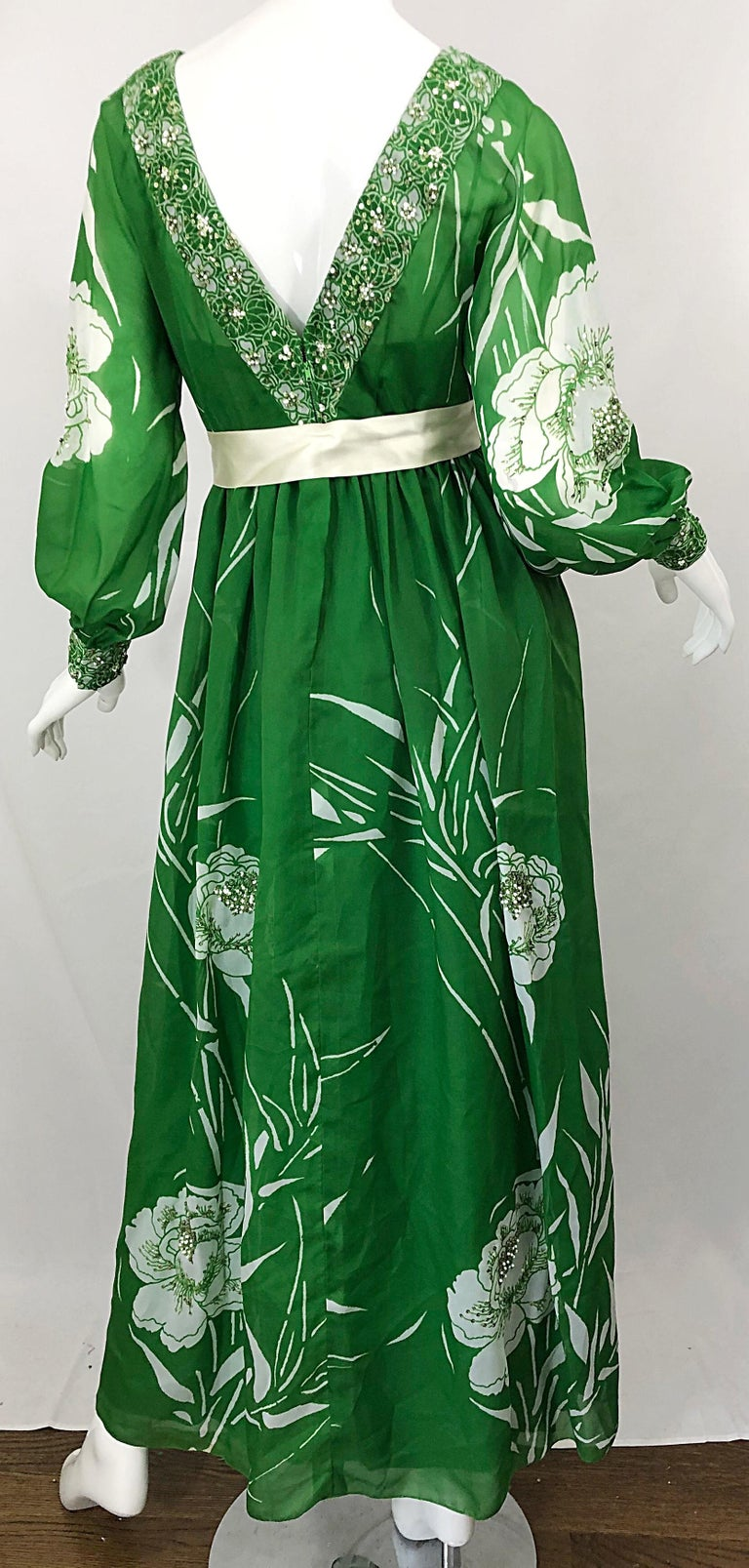 1970s Victoria Royal Kelly Green + White Abstract Floral Sequined Chiffon Gown For Sale 8