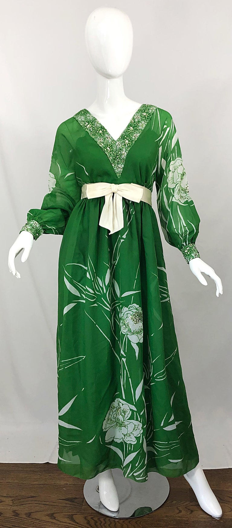 1970s Victoria Royal Kelly Green + White Abstract Floral Sequined Chiffon Gown For Sale 9