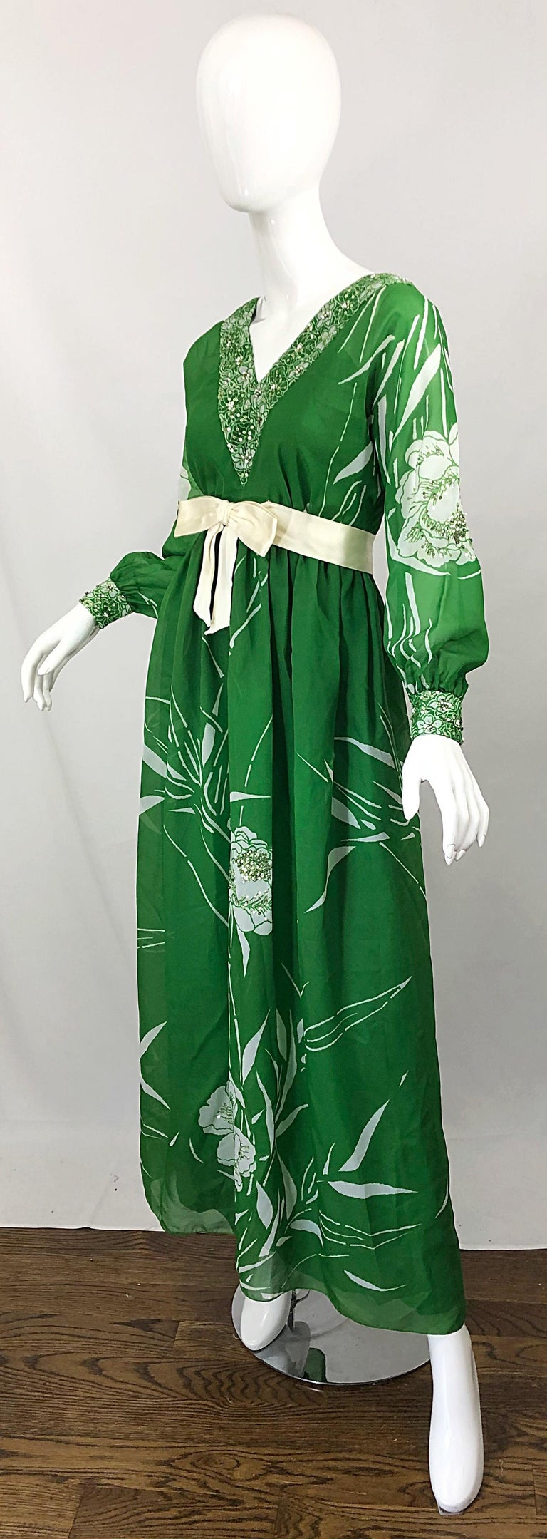 1970s Victoria Royal Kelly Green + White Abstract Floral Sequined Chiffon Gown For Sale 1