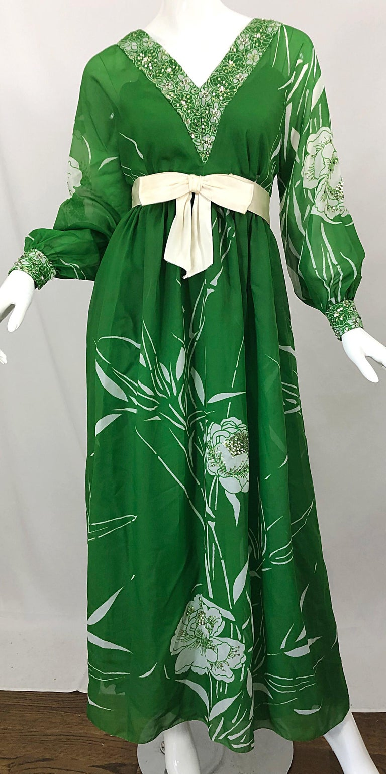 1970s Victoria Royal Kelly Green + White Abstract Floral Sequined Chiffon Gown For Sale 3