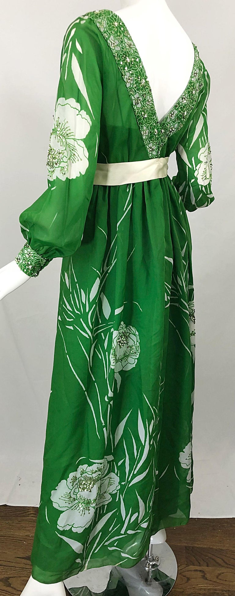 1970s Victoria Royal Kelly Green + White Abstract Floral Sequined Chiffon Gown For Sale 4