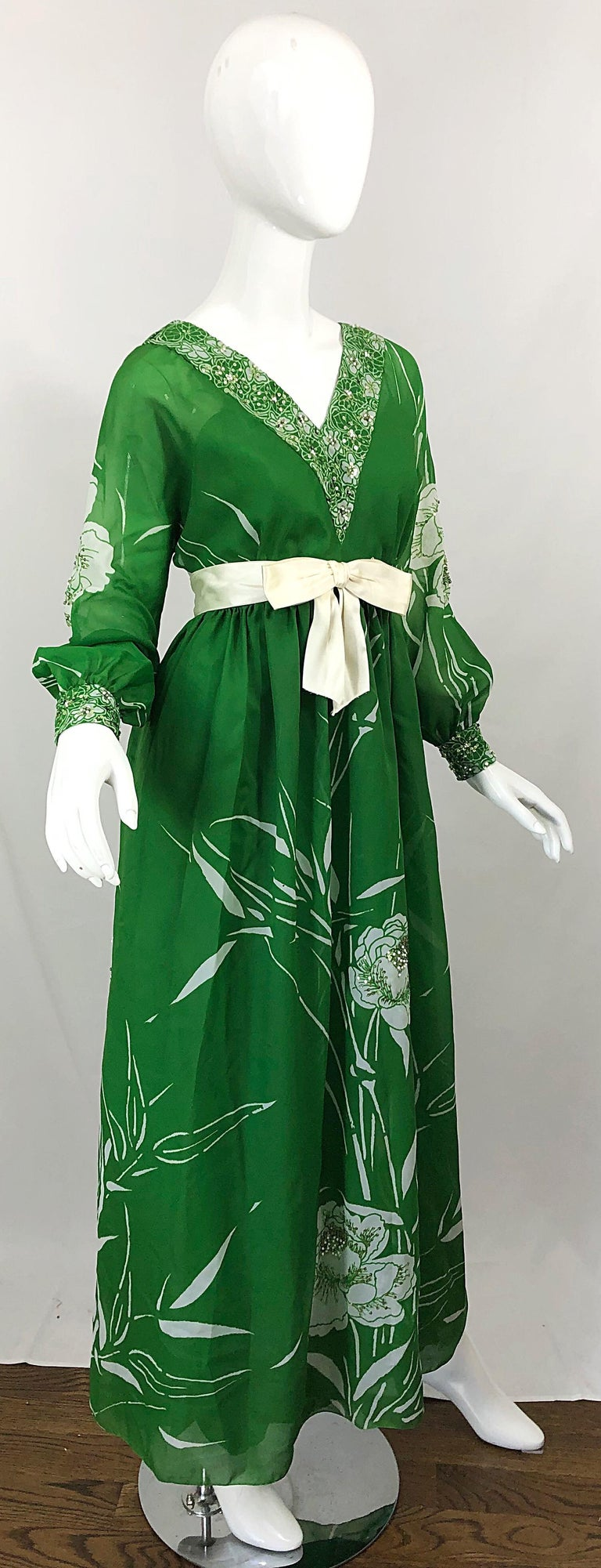 1970s Victoria Royal Kelly Green + White Abstract Floral Sequined Chiffon Gown For Sale 5