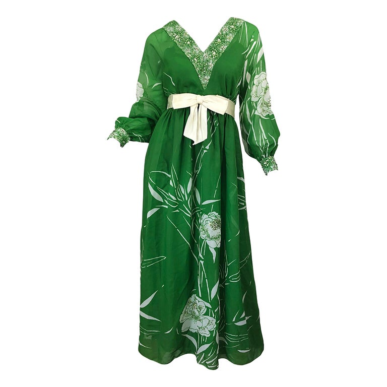 1970s Victoria Royal Kelly Green + White Abstract Floral Sequined Chiffon Gown For Sale