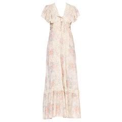 1970's Victorian Floral Cotton & Lace Dress