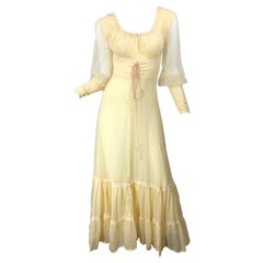 1970s Victorian Inspired Pale Yellow Cotton Voile + Lace Peasant 70s Maxi Dress