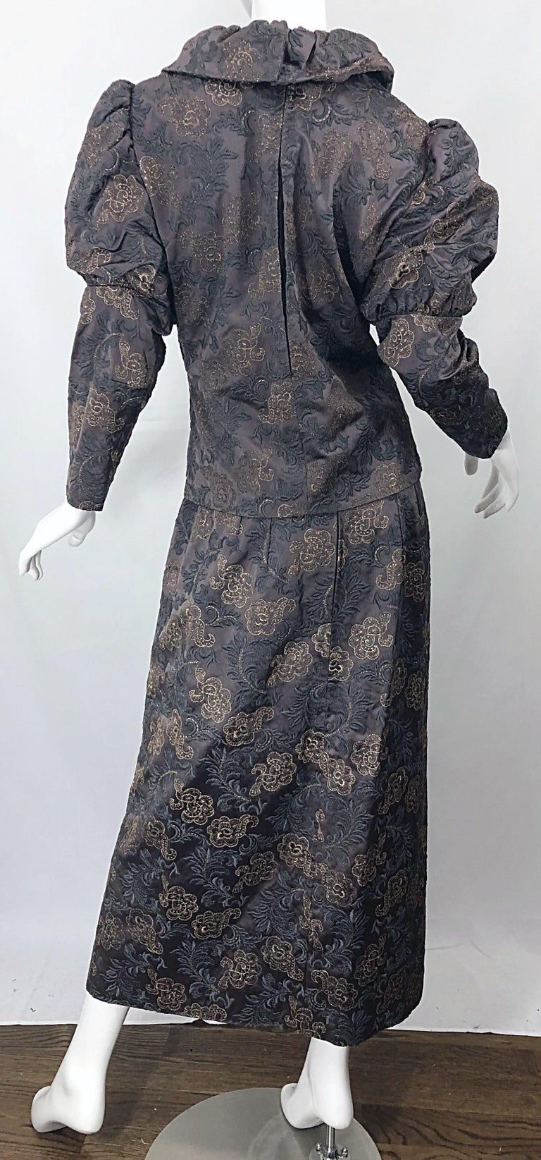 1970s Victorian Inspired Silk Brocade Taupe + Grey 70s Vintage Dress Ensemble For Sale 6