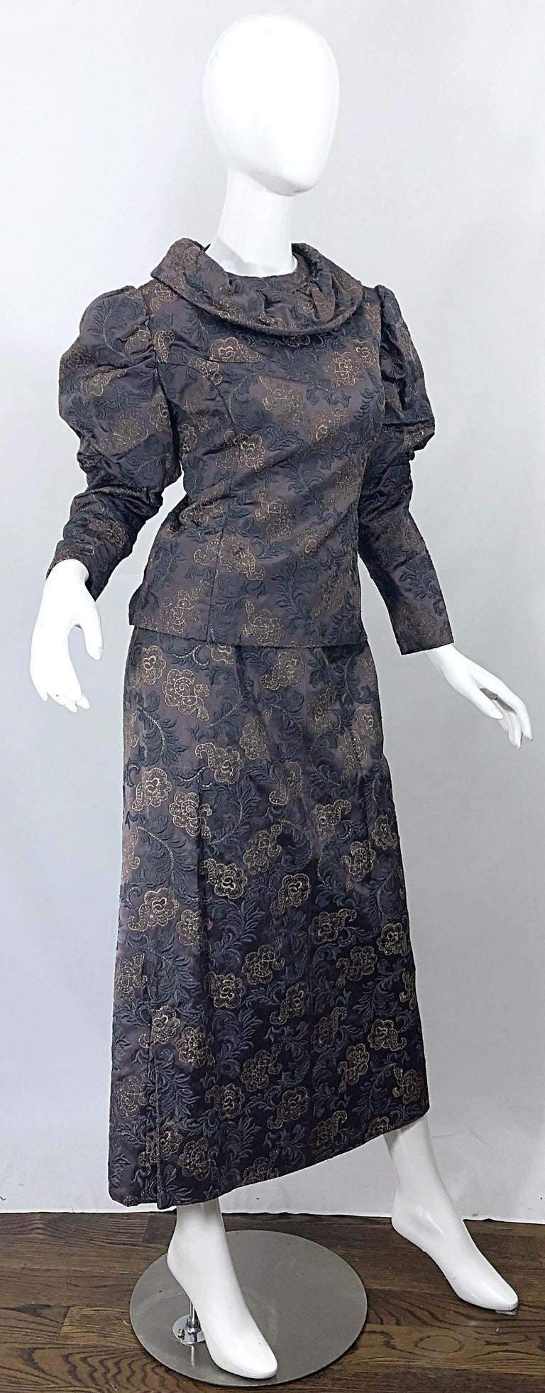 1970s Victorian Inspired Silk Brocade Taupe + Grey 70s Vintage Dress Ensemble For Sale 7