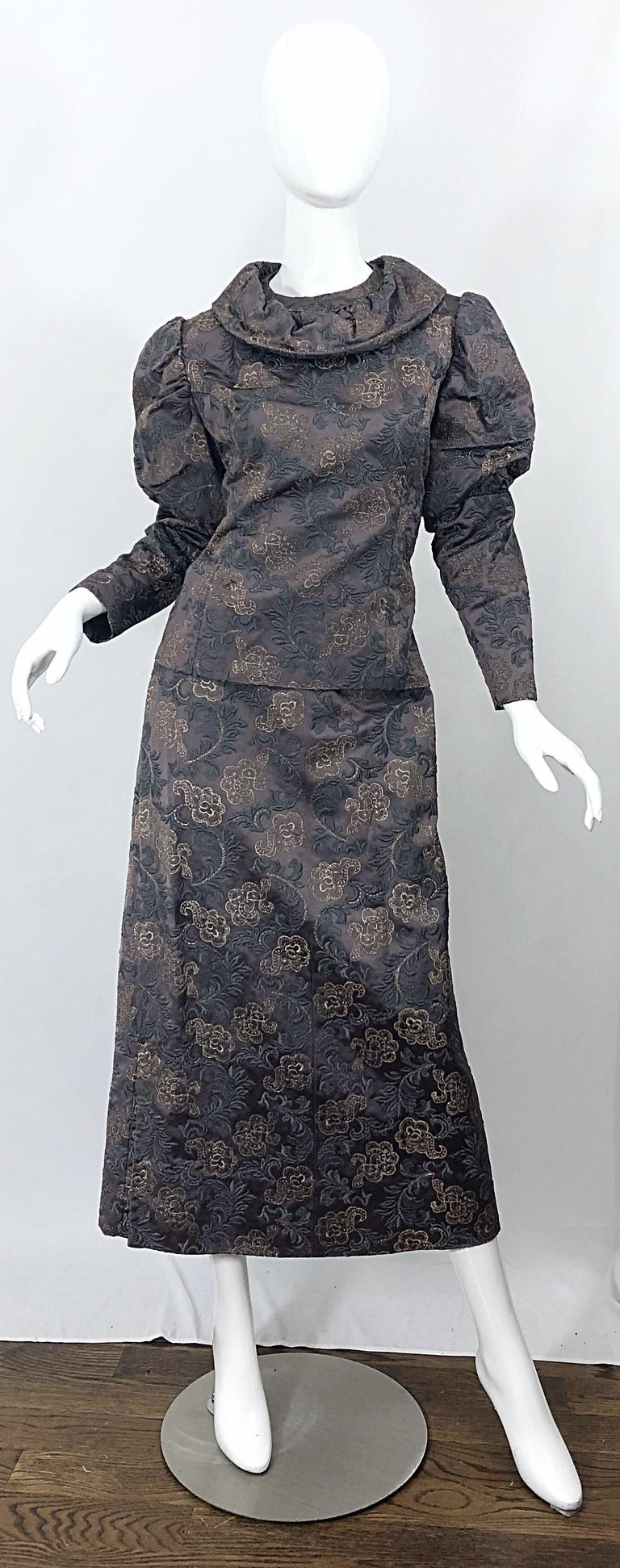 1970s Victorian Inspired Silk Brocade Taupe + Grey 70s Vintage Dress Ensemble For Sale 8
