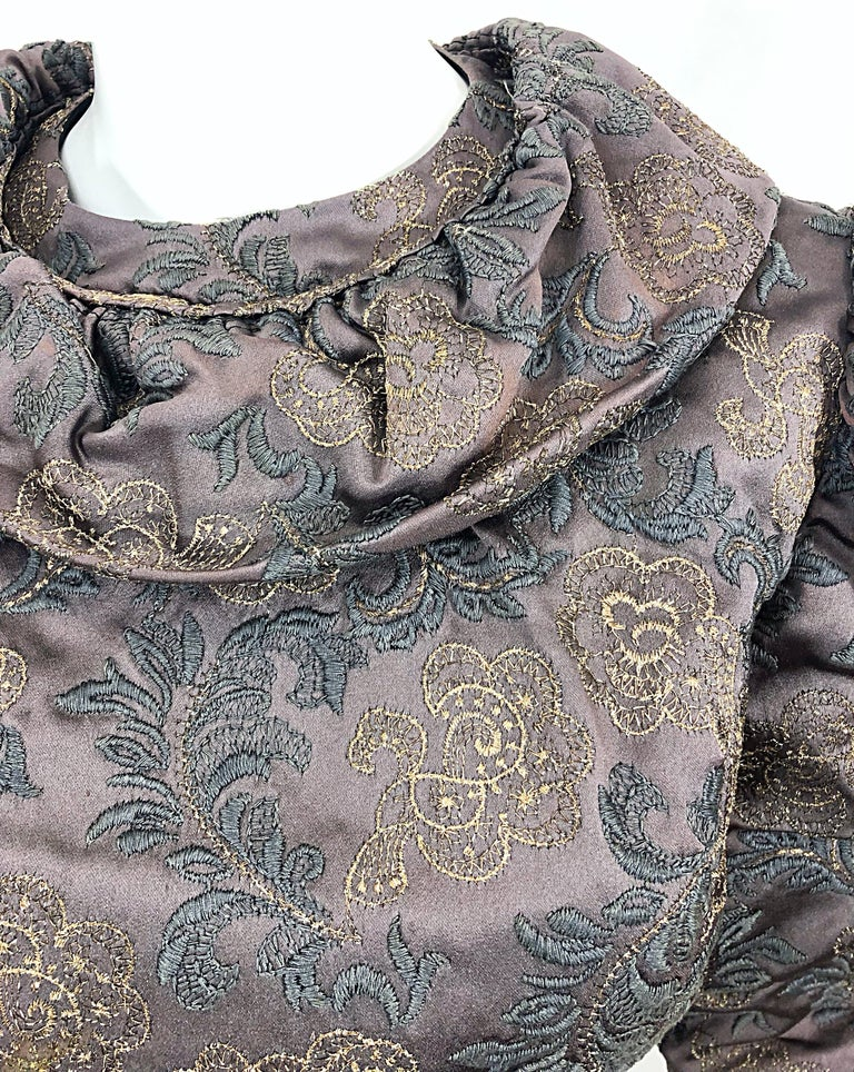 Black 1970s Victorian Inspired Silk Brocade Taupe + Grey 70s Vintage Dress Ensemble For Sale