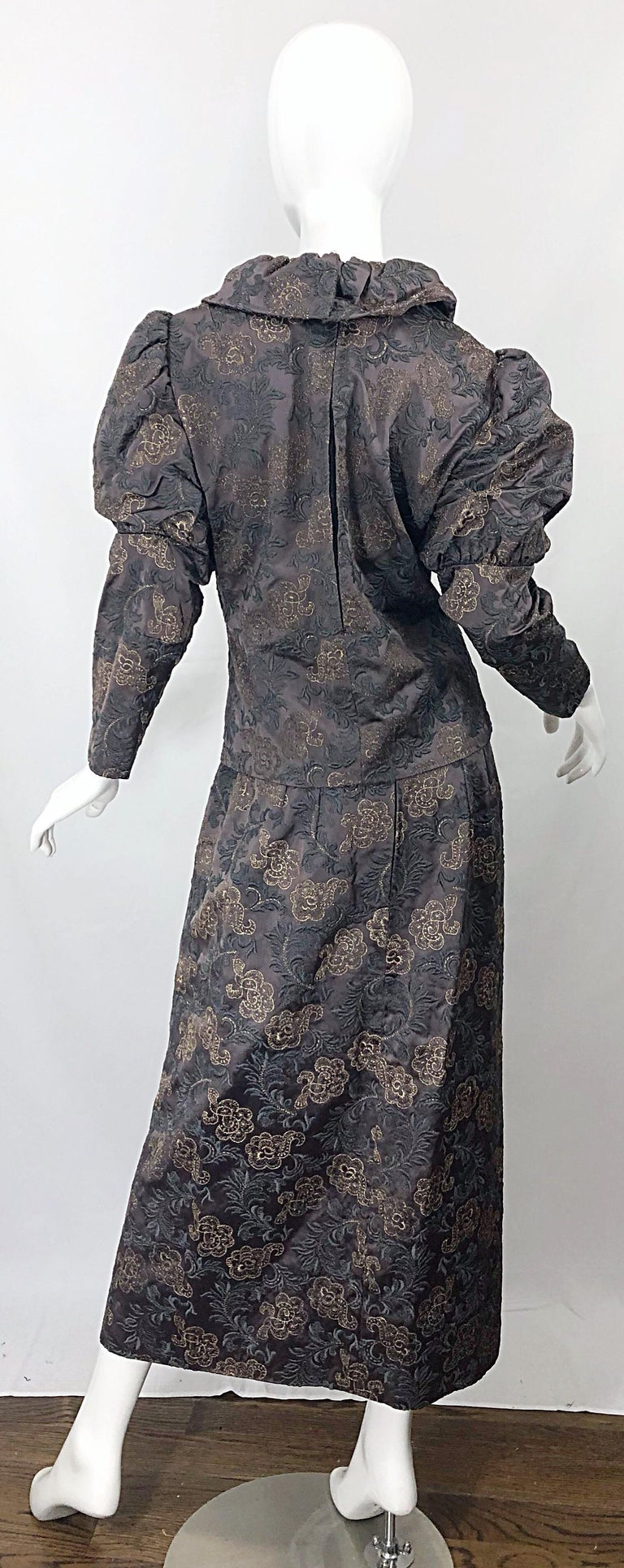 Women's 1970s Victorian Inspired Silk Brocade Taupe + Grey 70s Vintage Dress Ensemble For Sale