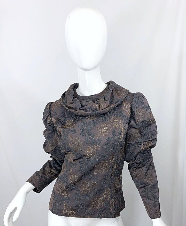 1970s Victorian Inspired Silk Brocade Taupe + Grey 70s Vintage Dress Ensemble For Sale 1