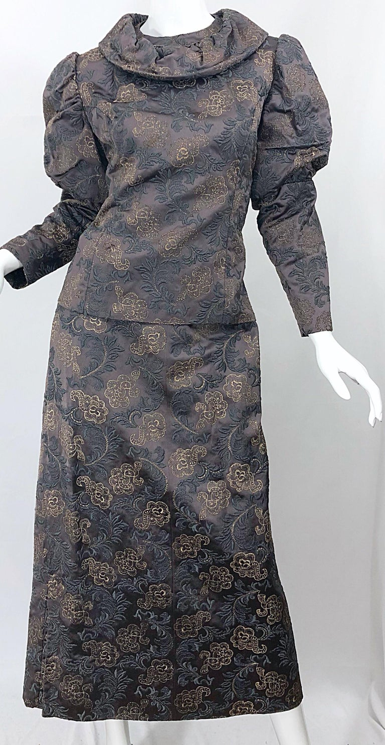 1970s Victorian Inspired Silk Brocade Taupe + Grey 70s Vintage Dress Ensemble For Sale 2