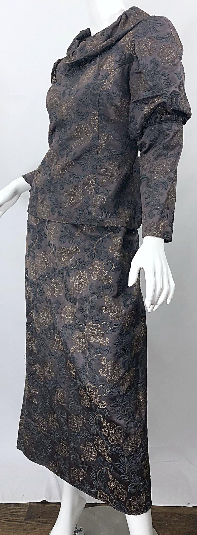 1970s Victorian Inspired Silk Brocade Taupe + Grey 70s Vintage Dress Ensemble For Sale 3