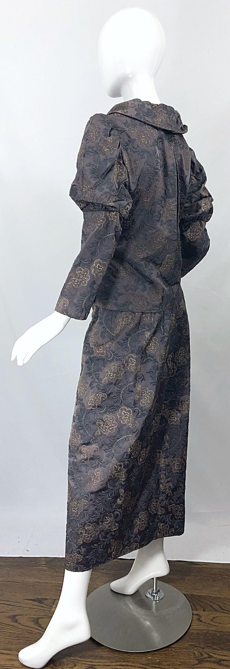 1970s Victorian Inspired Silk Brocade Taupe + Grey 70s Vintage Dress Ensemble For Sale 4
