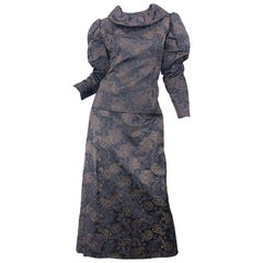 1970s Victorian Inspired Silk Brocade Taupe + Grey 70s Vintage Dress Ensemble