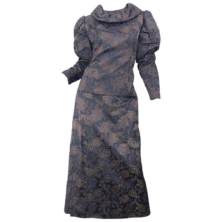 1970s Victorian Inspired Silk Brocade Taupe + Grey 70s Vintage Dress Ensemble For Sale