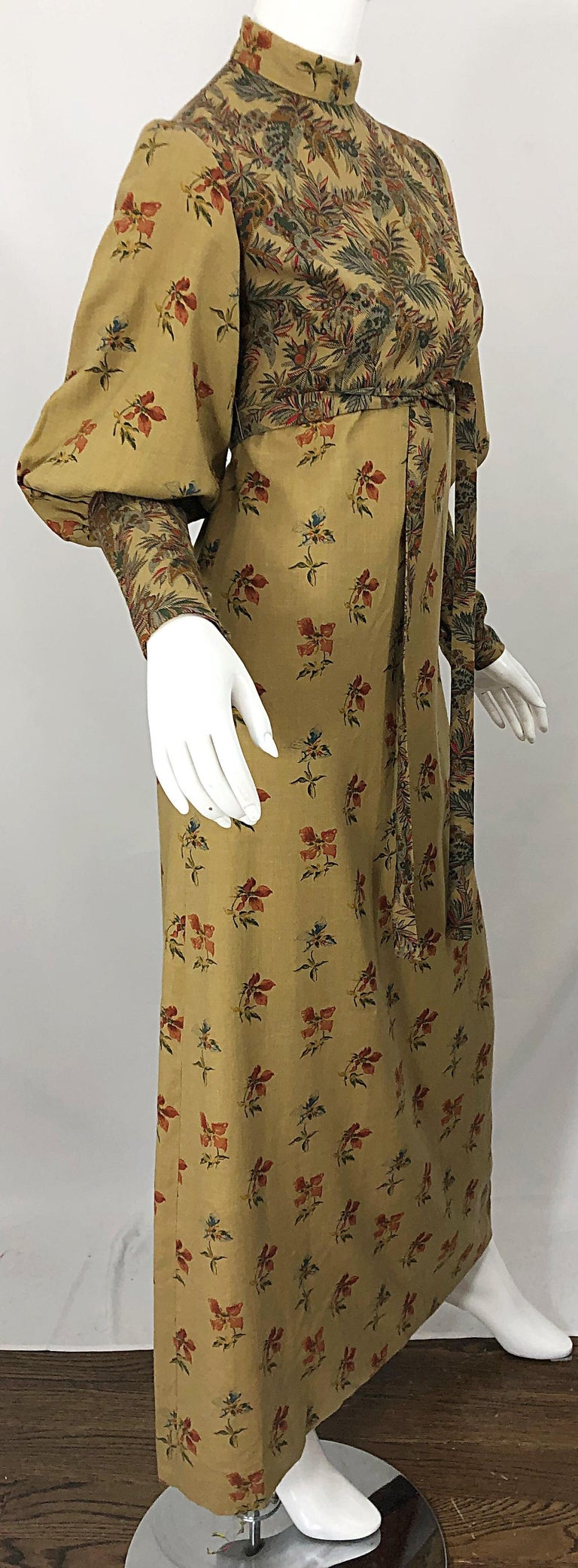 1970s Victorian Inspired Wool Challis Autumnal Fall Vintage 70s Maxi Dress For Sale 6