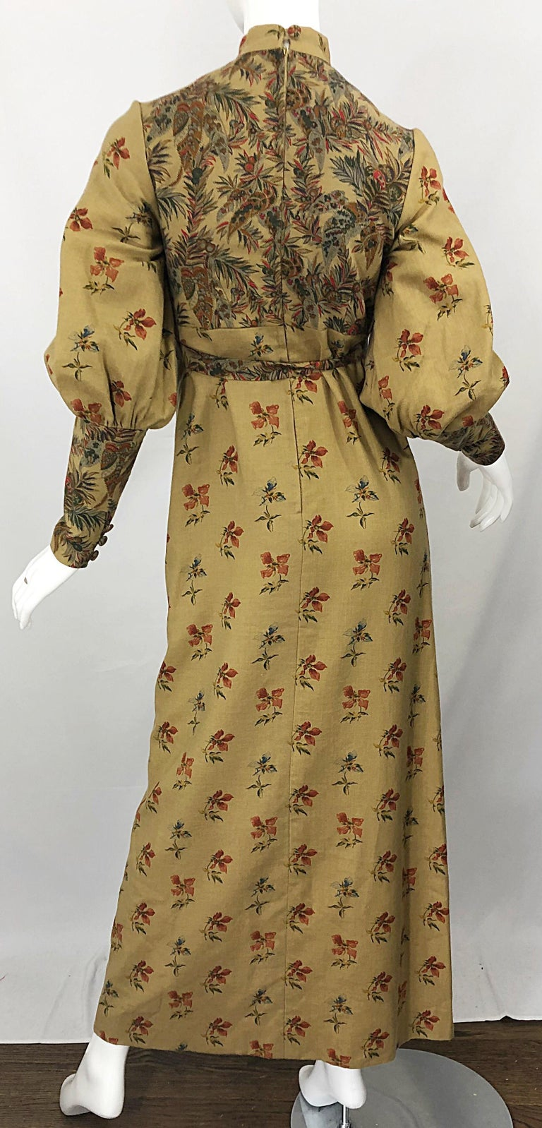 1970s Victorian Inspired Wool Challis Autumnal Fall Vintage 70s Maxi Dress For Sale 7