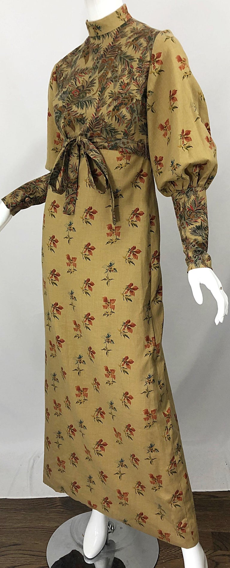 1970s Victorian Inspired Wool Challis Autumnal Fall Vintage 70s Maxi Dress For Sale 8