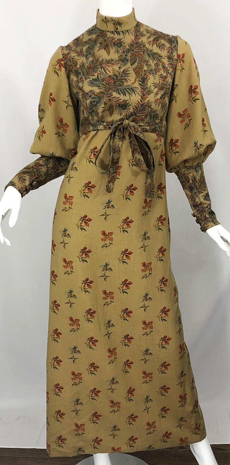 1970s Victorian Inspired Wool Challis Autumnal Fall Vintage 70s Maxi Dress For Sale 9