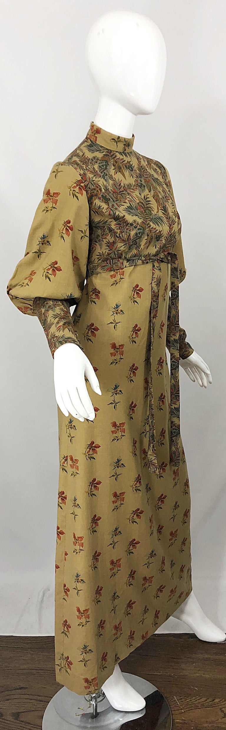 1970s Victorian Inspired Wool Challis Autumnal Fall Vintage 70s Maxi Dress For Sale 10