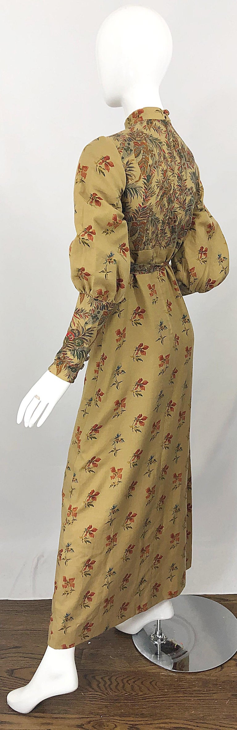 1970s Victorian Inspired Wool Challis Autumnal Fall Vintage 70s Maxi Dress For Sale 11
