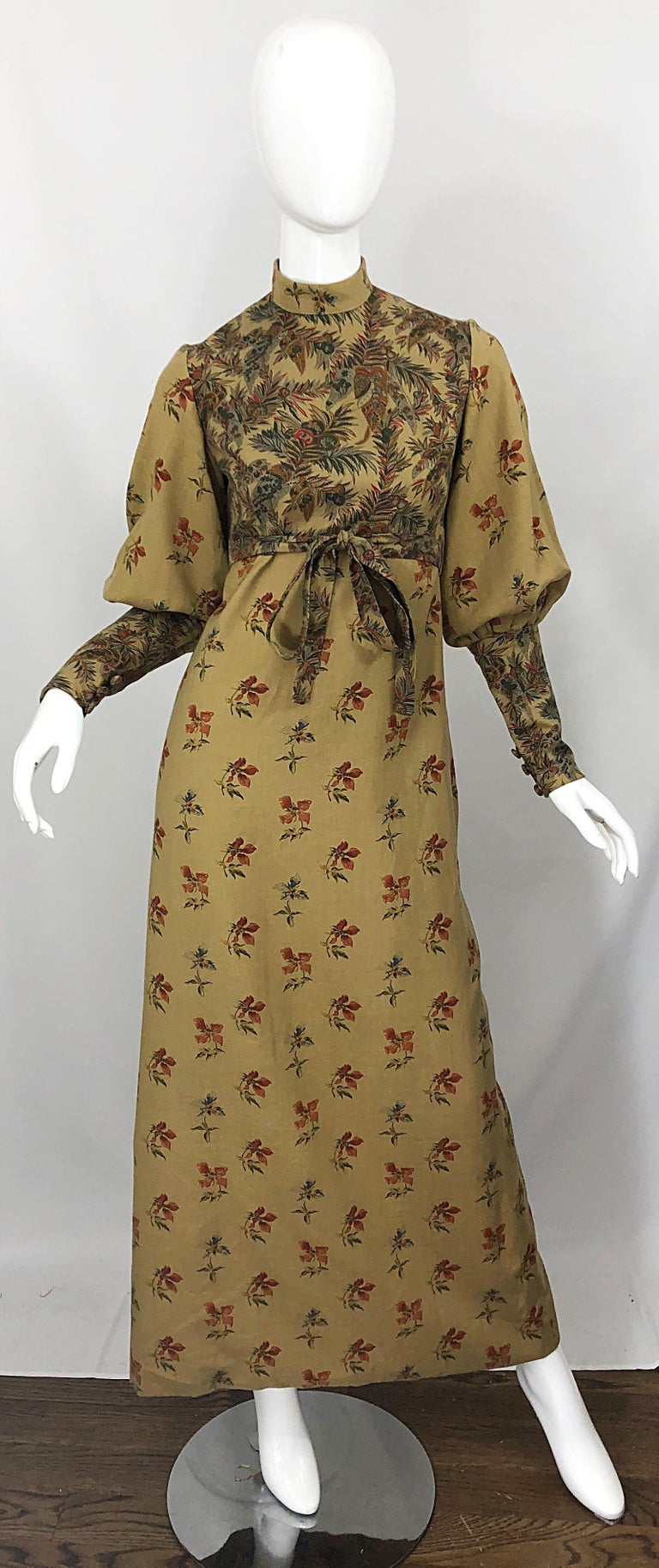 1970s Victorian Inspired Wool Challis Autumnal Fall Vintage 70s Maxi Dress For Sale 12