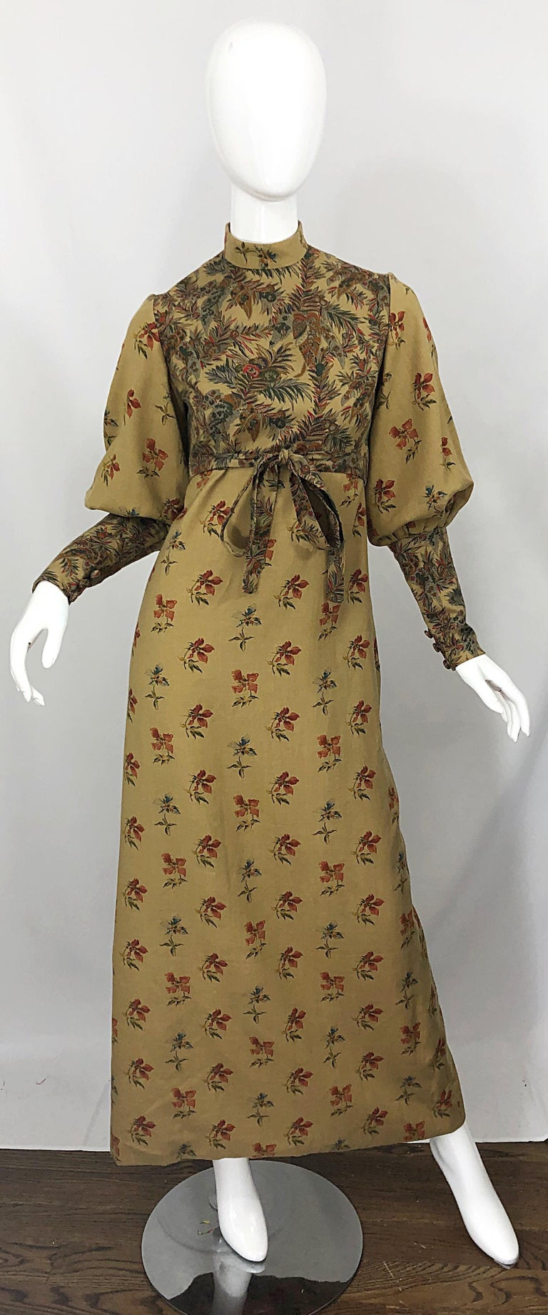 Brown 1970s Victorian Inspired Wool Challis Autumnal Fall Vintage 70s Maxi Dress For Sale