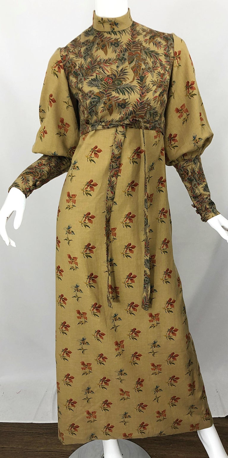 1970s Victorian Inspired Wool Challis Autumnal Fall Vintage 70s Maxi Dress For Sale 3