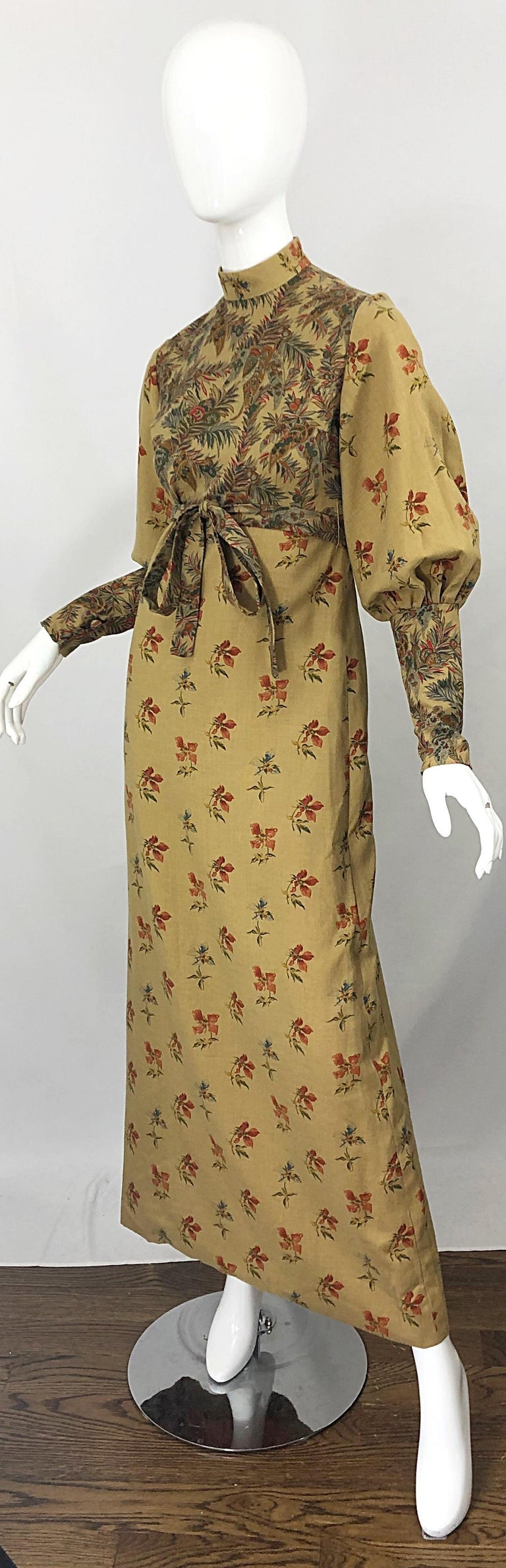 1970s Victorian Inspired Wool Challis Autumnal Fall Vintage 70s Maxi Dress For Sale 4