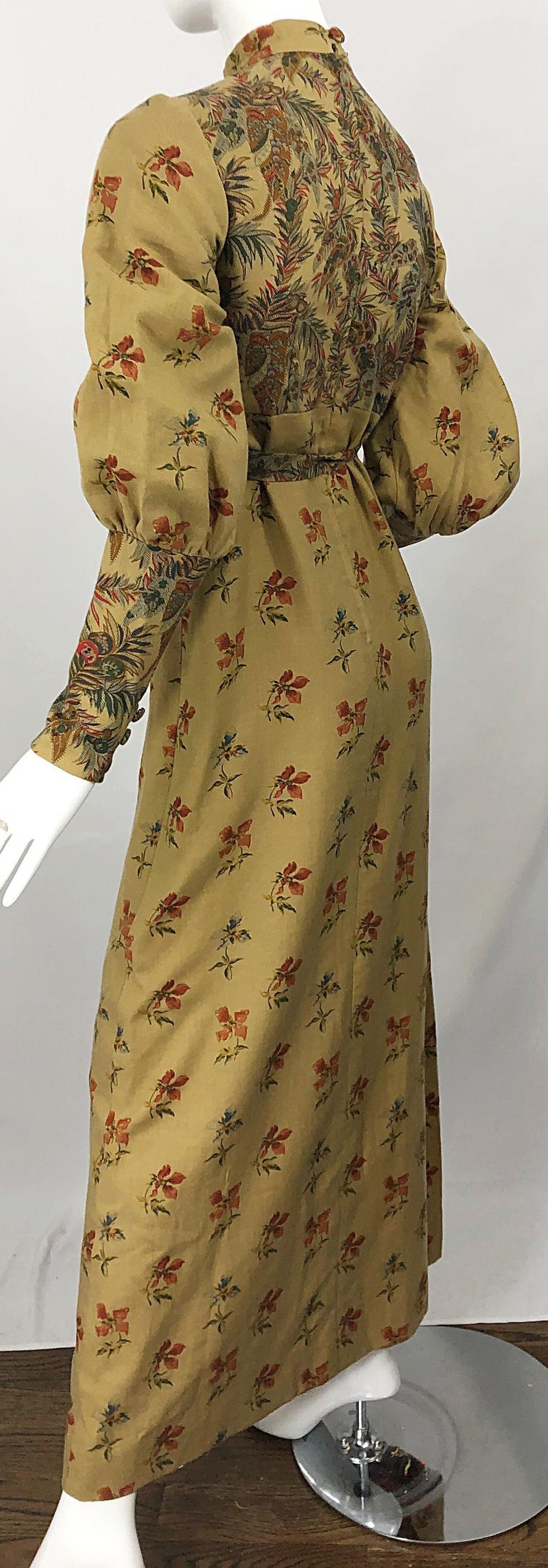 1970s Victorian Inspired Wool Challis Autumnal Fall Vintage 70s Maxi Dress For Sale 5