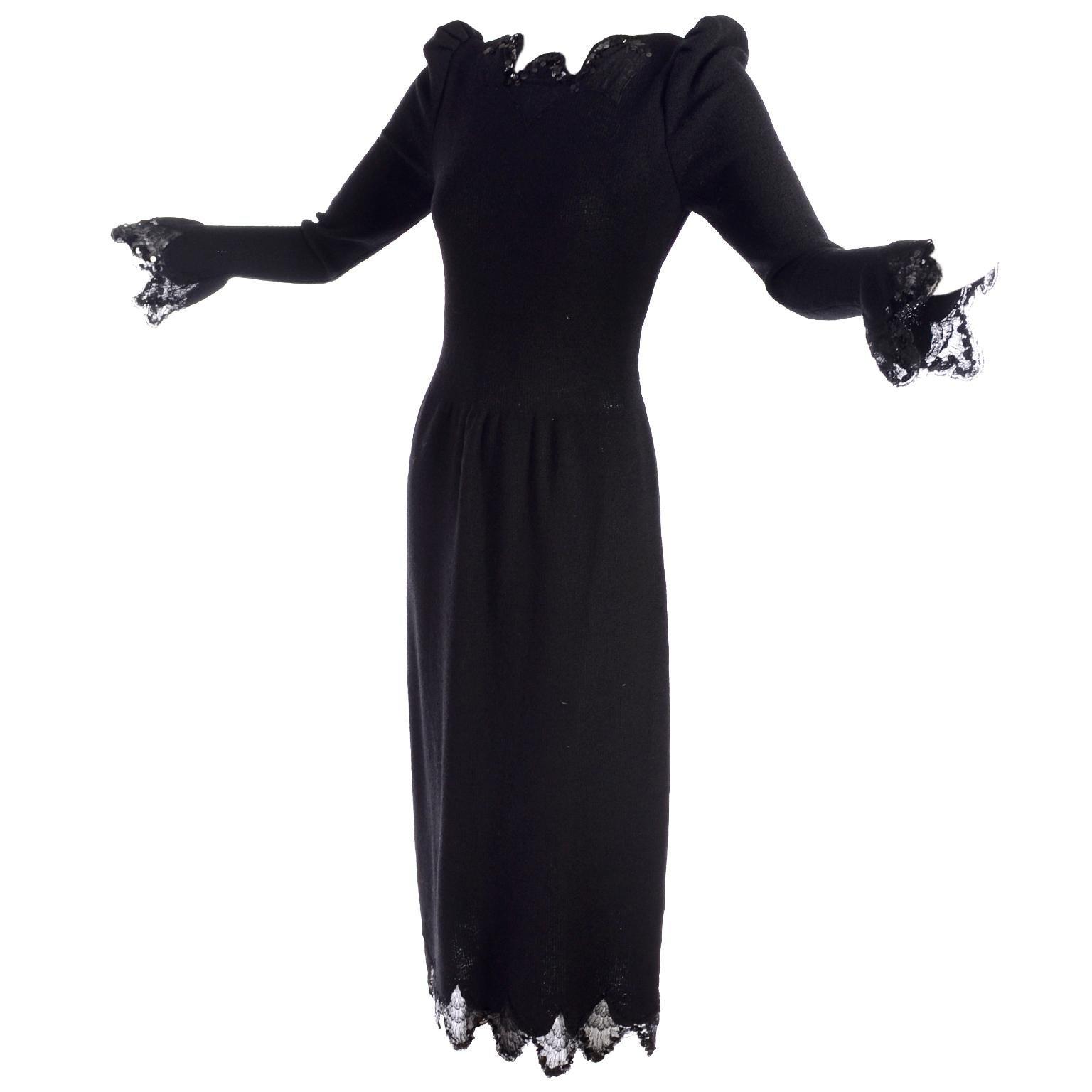 1970s Victorian Revival Adolfo Vintage Black Dress With Lace & Sequin Trim