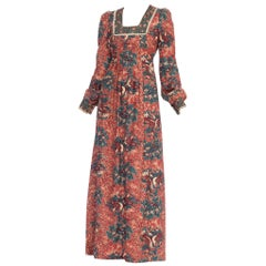 1970's Victorian Style Boho Floral Cotton Dress