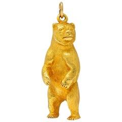 1970's Vintage 14 Karat Yellow Gold Grizzly Bear Charm