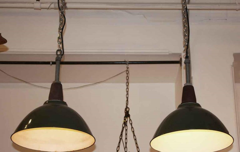 American 1970s Vintage Green Enamel Industrial Pendant Light, Quantity Available For Sale