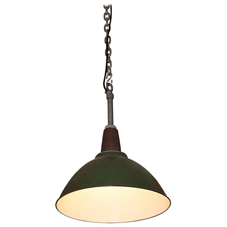 1970s Vintage Green Enamel Industrial Pendant Light, Quantity Available For Sale