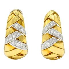1970's Vintage 2.08 Carats Diamond 18 Karat Two-Tone Gold Woven J Hoop Earrings