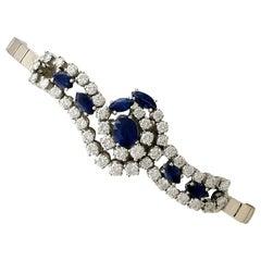 1970s Vintage 3.32 Carat Sapphire 4.35 Carat Diamond White Gold Bracelet