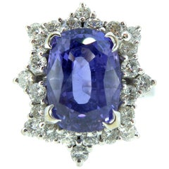 5.0 Carat Purple Sapphire and Diamond Ring, 1970s Vintage Cluster Style