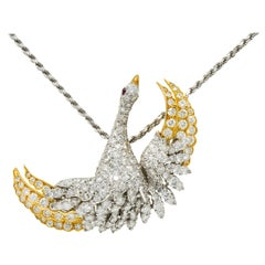 1970s Vintage 8.50 Carat Diamond Platinum 18 Karat Gold Swan Pendant Necklace