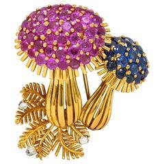 1970s Vintage 8.60 Carat Sapphire Diamond 18 Karat Gold Mushroom Brooch