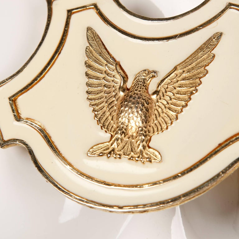 1970s Vintage Accessocraft Enamel Gold Eagle Breast Plate Statement Necklace In Excellent Condition For Sale In Sparks, NV