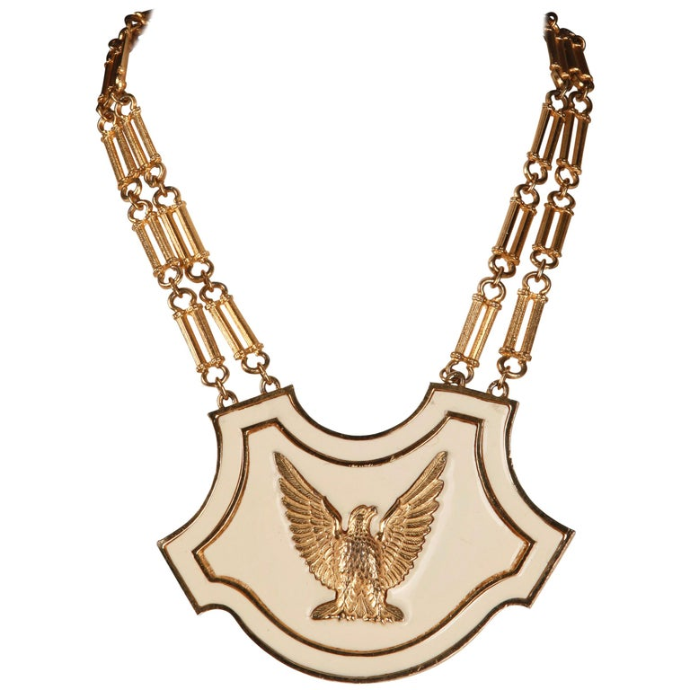 1970s Vintage Accessocraft Enamel Gold Eagle Breast Plate Statement Necklace For Sale